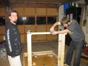Attaching the beam to the legs