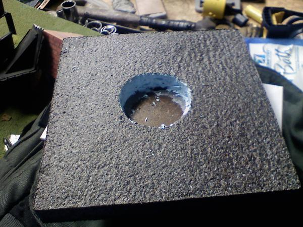 We had to cut a hole in the base so the well wasn't too large.