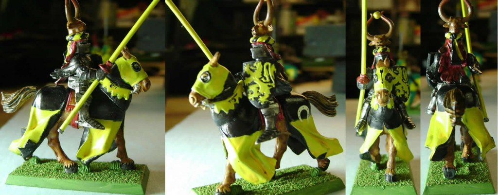 Black and Yellow Knight with Bull