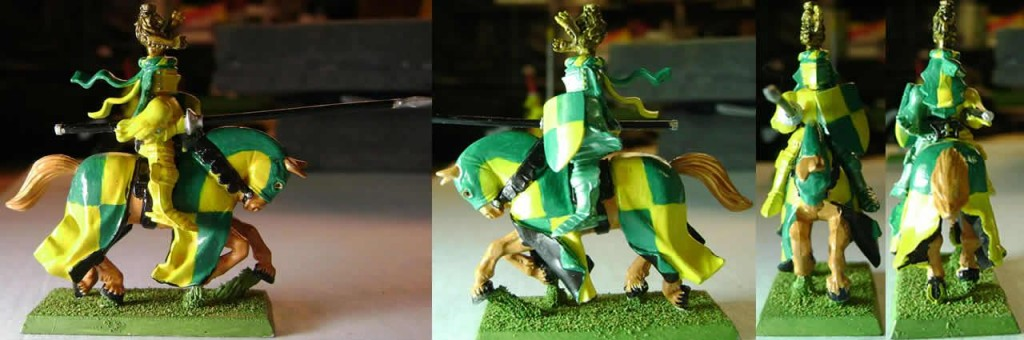 Green and Yellow Knight with Lion