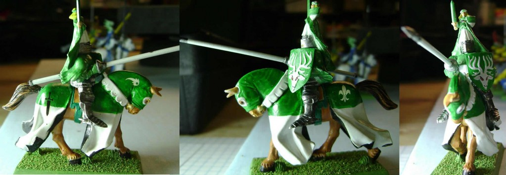 Green and White Knight with Small Knight